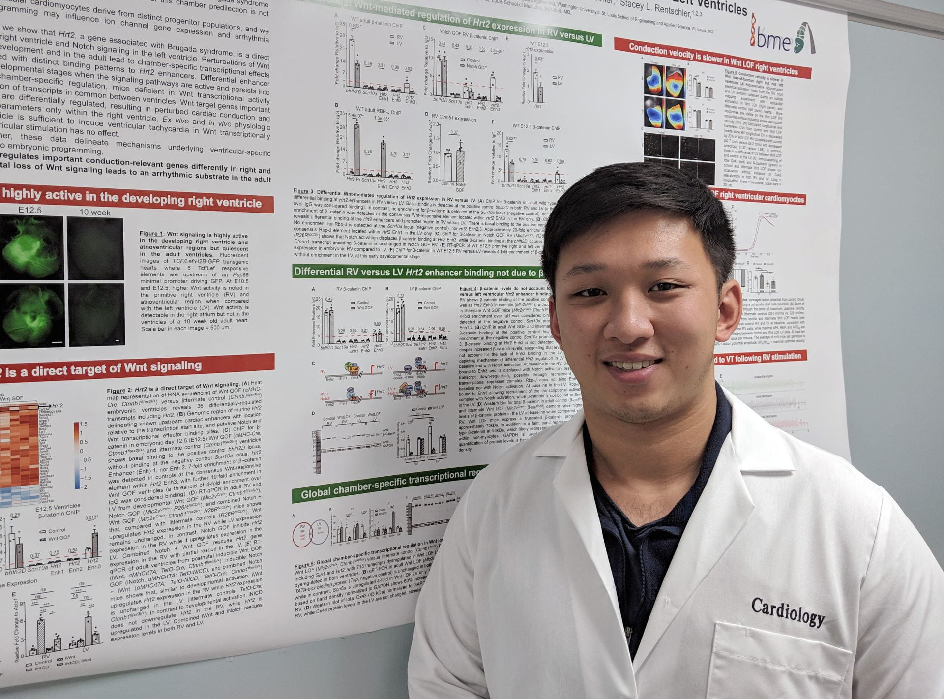 student with poster