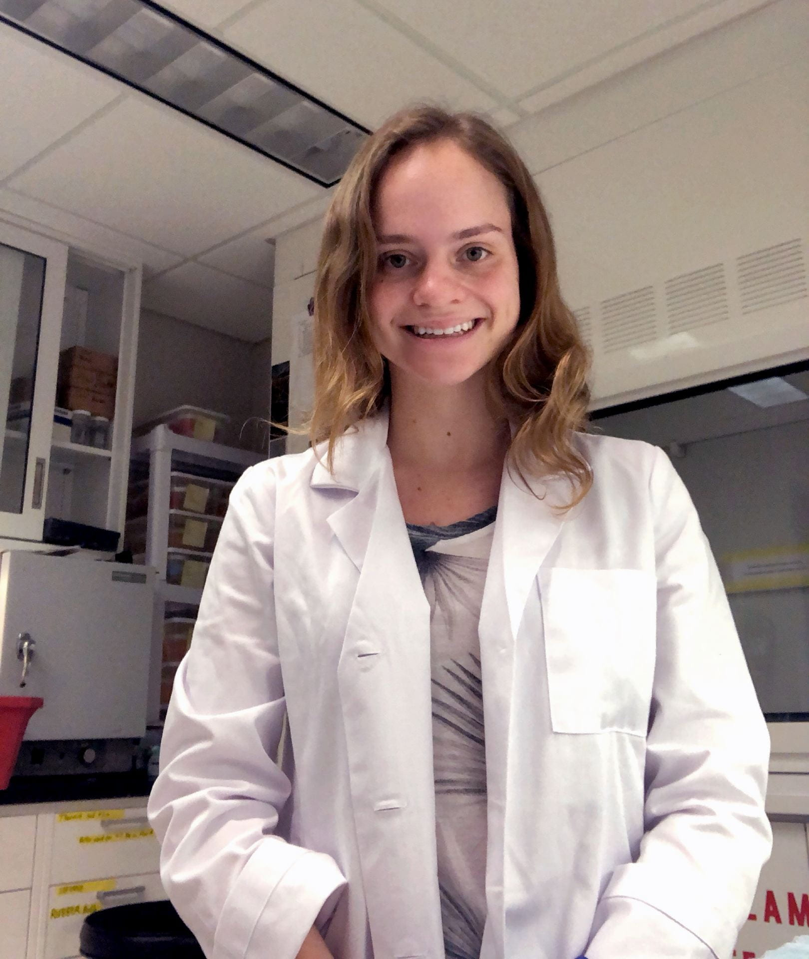 undergrad in lab coat