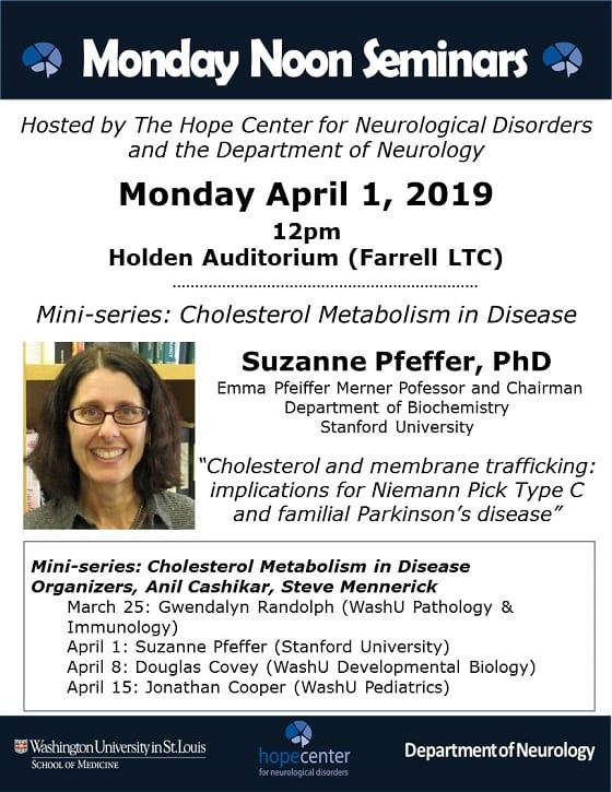 Hope Center/Neurology Monday Noon Seminar: Suzanne Pfeffer
