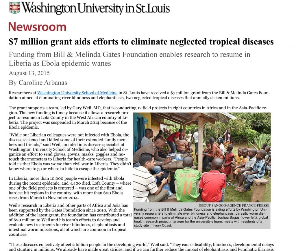 7 million grant aids efforts to eliminate neglected tropical diseases