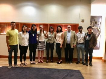 L to R: Alex Shiang, Luxi Qiao, Tiffany Wu, Carrie Sibbald, Dr. Christine Dubray, Priyanka Parameswaran, Dr. Gary Weil, Cyrus Ghaznavi, John Deng (Urvi Sinha was also a student organizer but is not in the photo.)