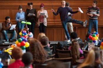 Improv troupe Suspicious of Whistlers performs at the 2nd Annual Young Storytellers Festival