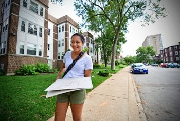 July 23, 2015 -Kierstan Carter maps areas near the Delmar Loop. James Byard/WUSTL Photos
