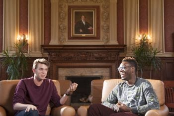 Washington University in St. Louis seniors Carrick Reddin (left) and Nick Okafor discuss their experiences at WUSTL and their post-graduation plans during an interview in Holmes Lounge on the Danforth Campus in St. Louis Tuesday, April 12, 2016. Photo by Sid Hastings / WUSTL Photos