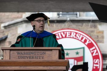 Newly inaugurated Washington University Chancellor Andrew D. Martin makes 'WashU Pledge'