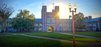 Sunset behind Brookings Hall