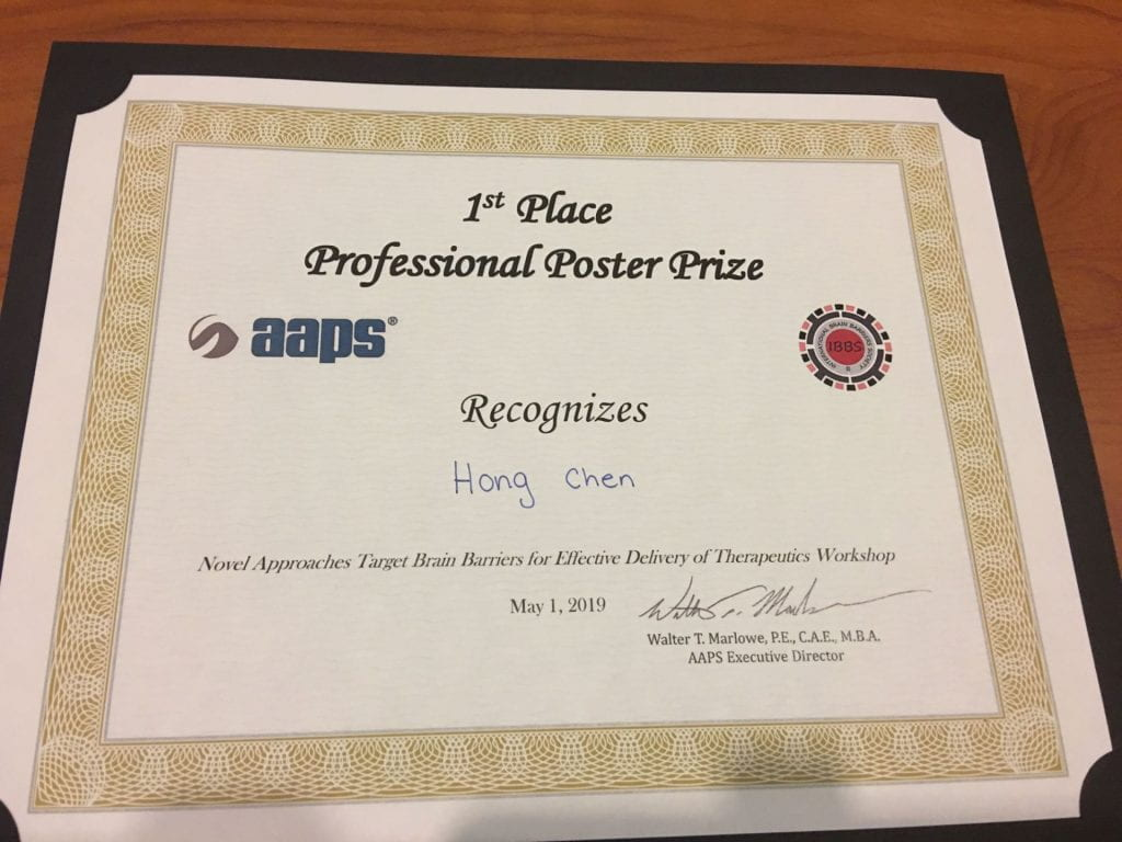 Dr.HongChen got the 1st place professional poster prize at aaps
