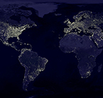 Satellite photo of the Earth at night.