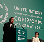 United Nations Secretary-General Ban Ki-moon speaks at the 2013 climate talks in Warsaw.