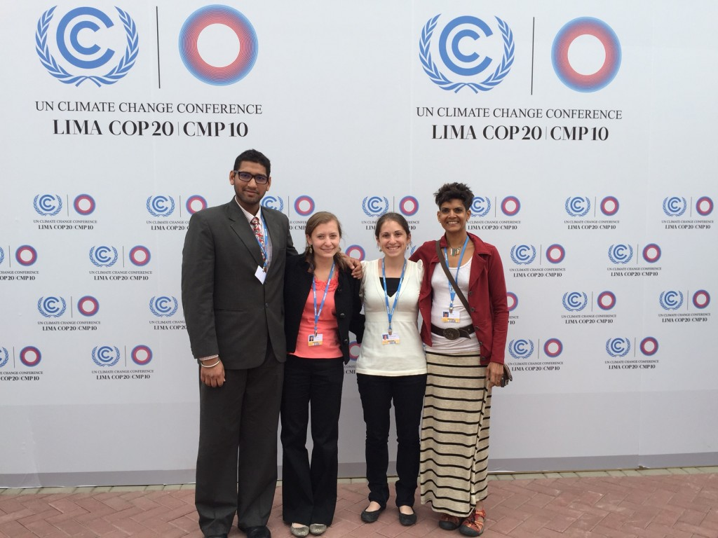 Delegation from Washington University attended the COP20 negotiations in Lima, Peru, in December 2014. Pictured (from left) Engineering PhD candidate Akshay Gopan, Arts & Sciences undergraduate Jessic Redneck, law school student Tamara Slater and University College instructor Anu Hittle.