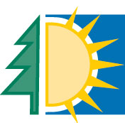 Logo of the International Center for Advanced Renewable Energy and Sustainability or I-CARES. It features a green tree, yellow sun and blue sky.