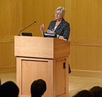 Maria van der Hoeven, Executive Director of the International Energy Agency speaking than audience at Washington University on July 17, 2015.