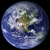 Photo of planet Earth from the Western Hemisphere.
