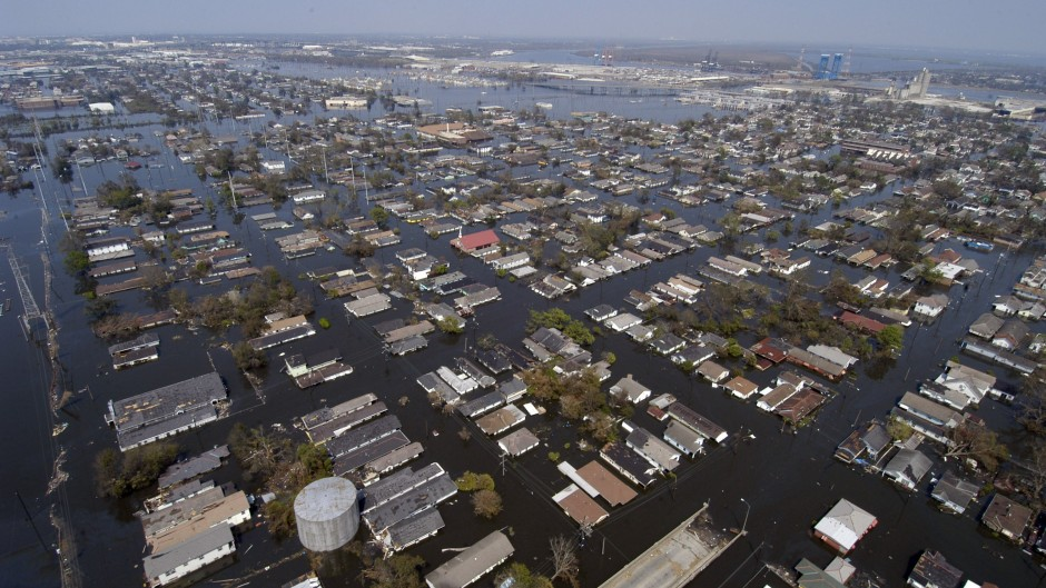 Aerial view of a flooded New Orleans following Hurricane Katrina.
