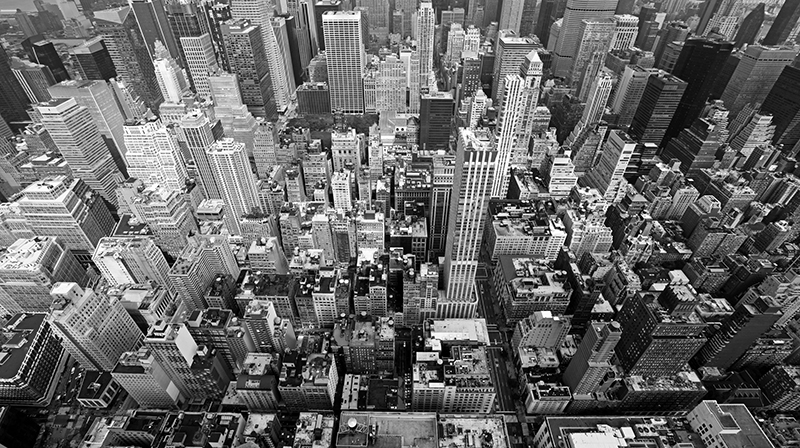Black and white aerial photo of New York City.