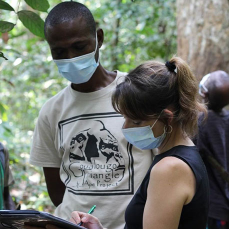 Crickette Sanz (right), Associate Professor of Anthropology, conducting research in the Republic of Congo's Goualougo Triangle.