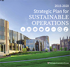 Photo of Thomas and Jennifer Hillman Hall, the newest building for the Brown School. Cover page of the recent edition of the 2015-2020 Strategic Plan for Sustainable Operations.