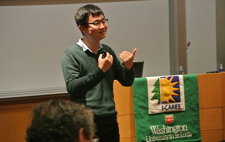 Xinyi Liu, PhD, assistant professor of archaeology gives progress report on his I-CARES funded research focused on studying the archaeology of food domestication. (PHOTO: Myra Lopez, April 2, 2016)