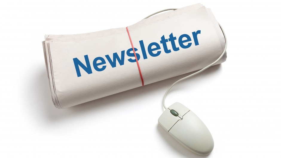 Image promoting I-CARES e-newsletter. Image looks like rolled up newspaper with computer mouse sticking out of it.