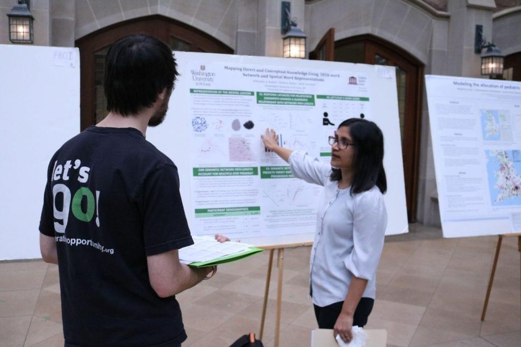 Psychological & Brain Sciences student Abhilasha Kumar explains their research to a judge