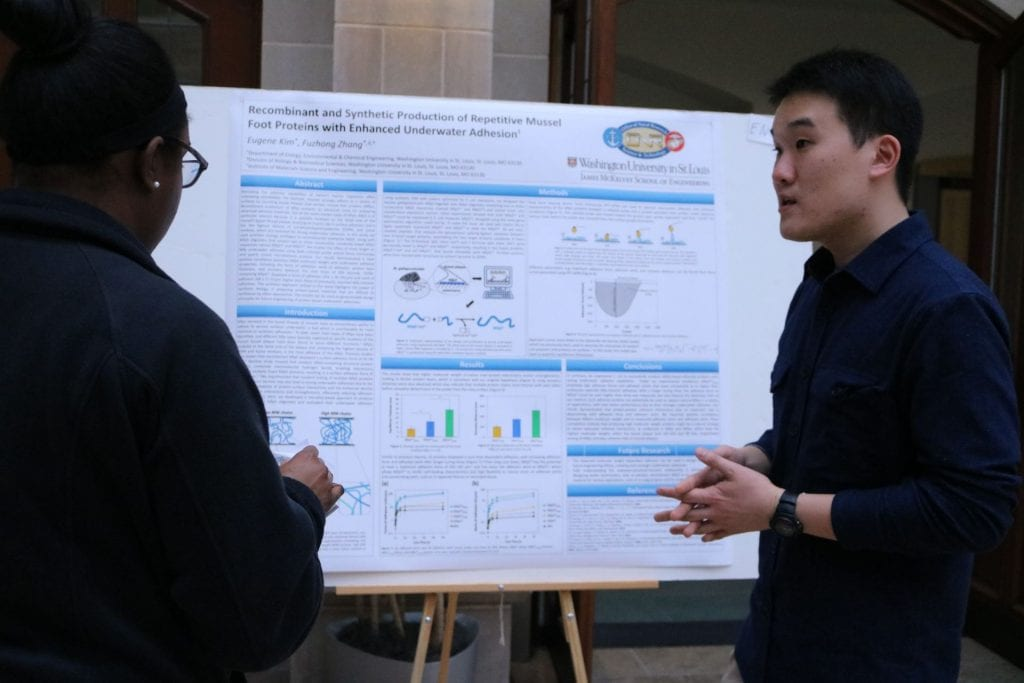 Engineering student Eugene Kim explains their research