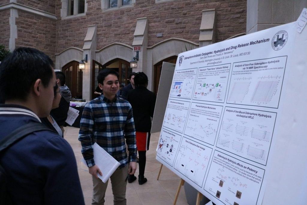 Chemistry student Gerry Sann Rivera explains their research