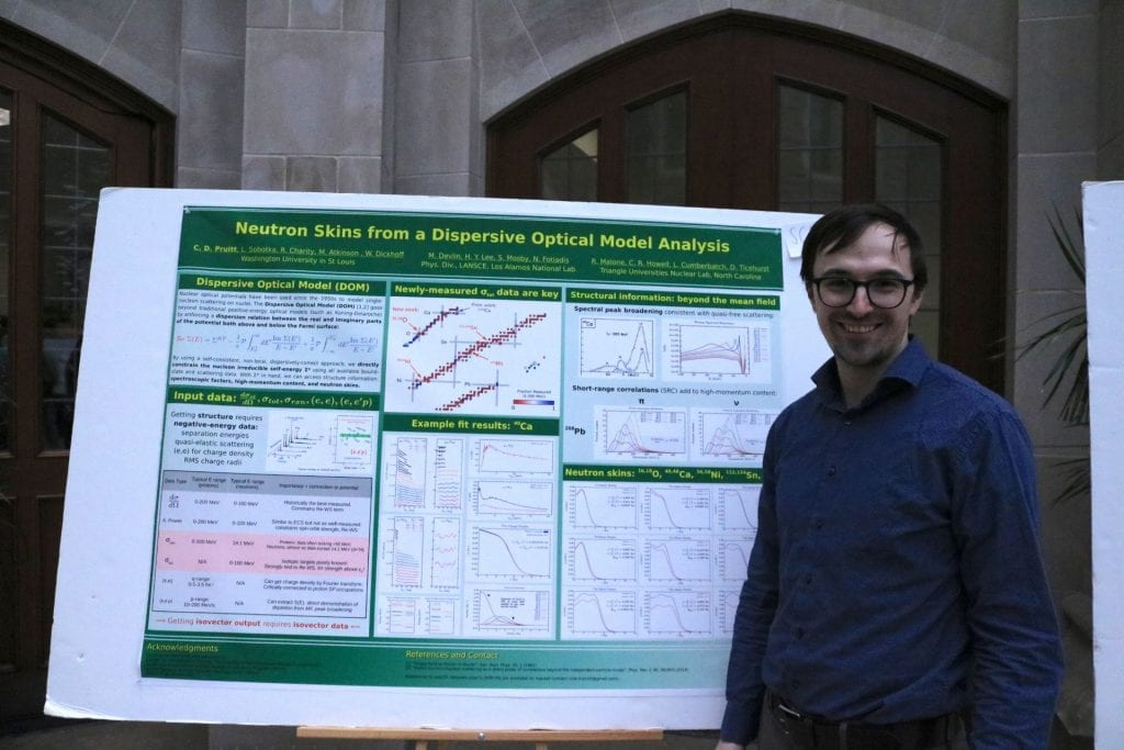 Chemistry student Cole Pruitt poses next to their poster
