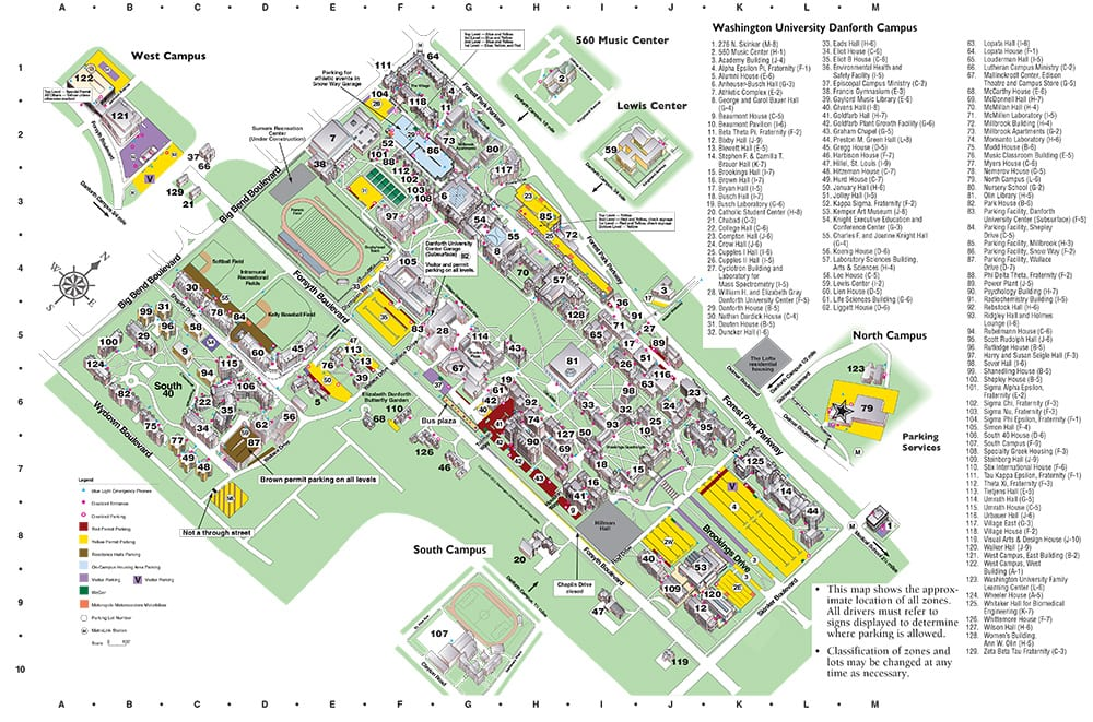 Washington University Campus Map Park Ideas