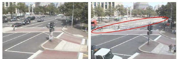 Images of cycle traffic before (left; 2009) and after (right; 2010) construction of a cycling path. Photos show the intersection of Pennsylvania Avenue NW and 9th Street NW, Washington DC. Photos courtesy of the web archive: Archive of Many Outdoor Scenes
