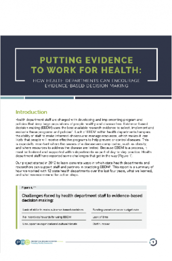 Putting Evidence to Work for Health