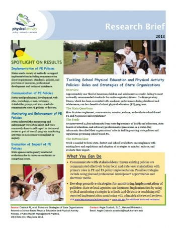 Tackling School Physical Education and Physical Activity Policies (pdf)