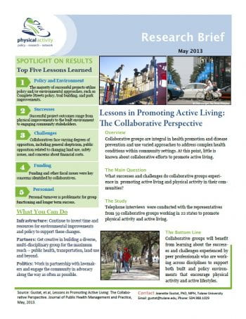 Lessons in Promoting Active Living (pdf)