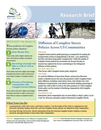 Diffusion of Complete Streets Policies Across US Communities (pdf)