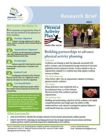 Building partnerships to advance physical activity planning (pdf)