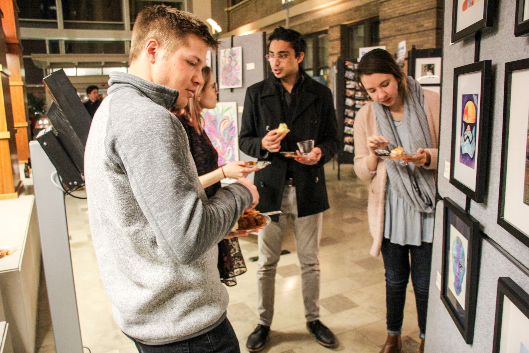 Students viewing exhibits at the 2018 Art Show