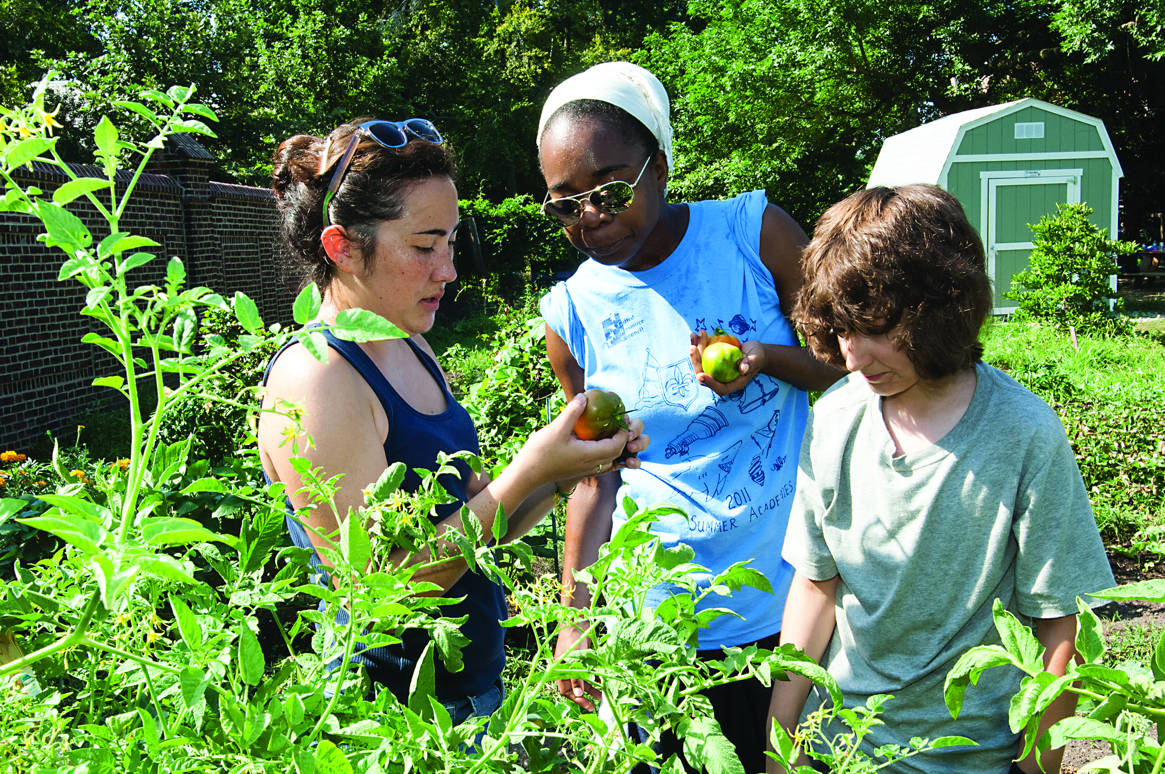 Children at the Kumquat Summer camp learn from students about ecologically-sound farming practices.