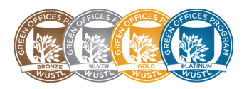 Green offices achievement seals for bronze, silver, gold and platinum.