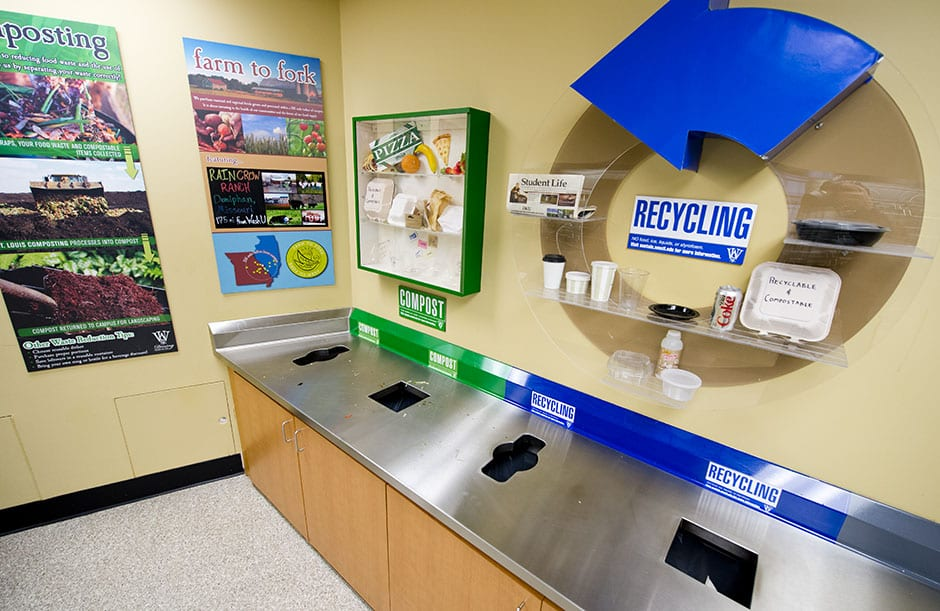 Students eating at the Bear's Den and throughout campus have the opportunity to compost some of their waste.