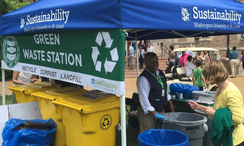 People dispose of waste at a green waste station at an event on WashU campus.