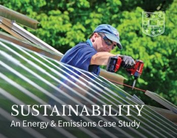 A man installs solar panels on the cover of the Sustainability Energy and Emissions Case Study