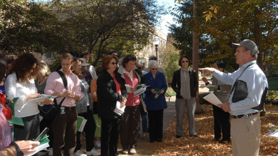 Led by Kent Theiling, faculty, students, and staff participate in the Second Annual Fall Arbor Tour.