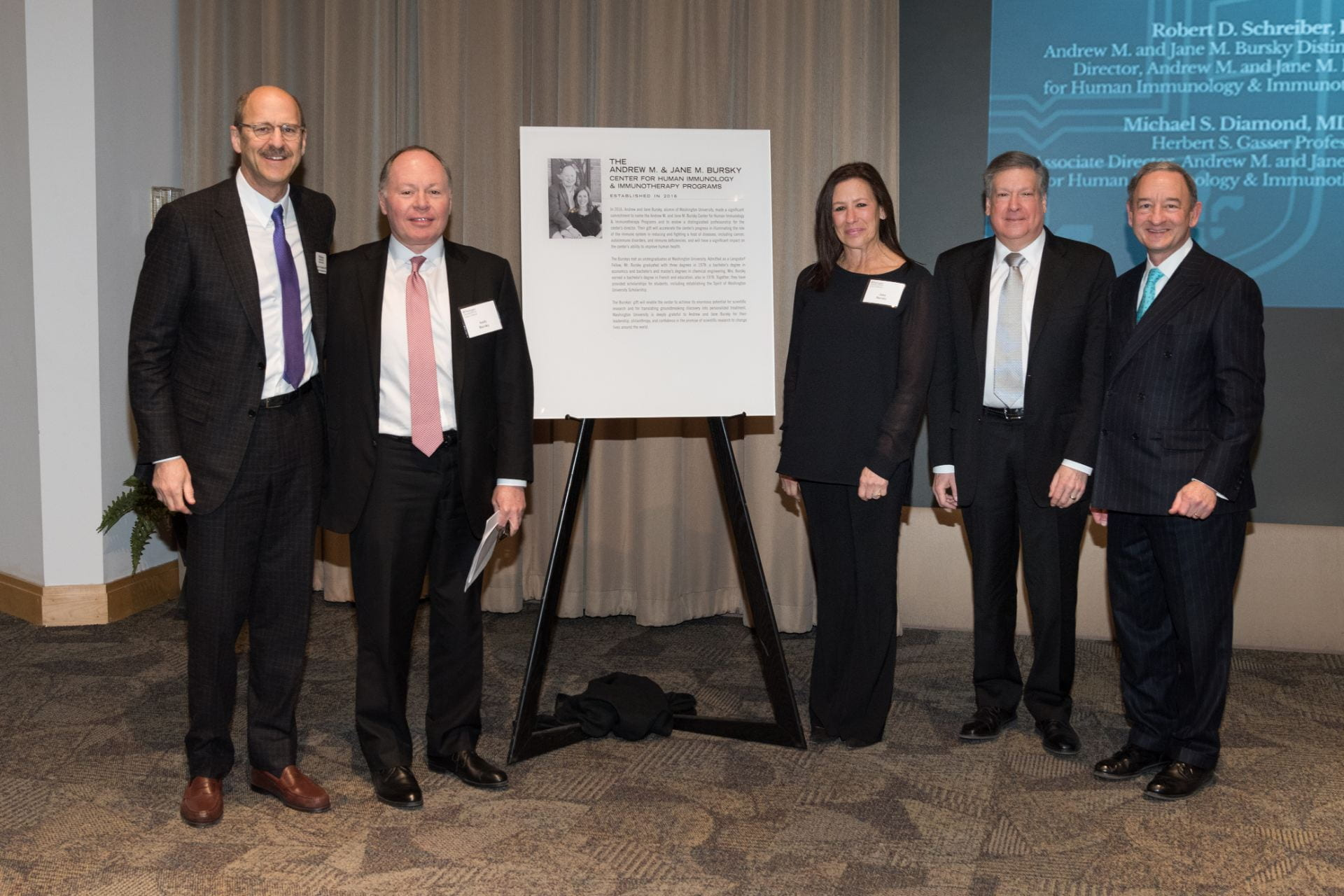 Dean Perlmutter, Andy Bursky, Jane Bursky, Bob Schreiber and Chancellor Wrighton after unveiling the plaque.