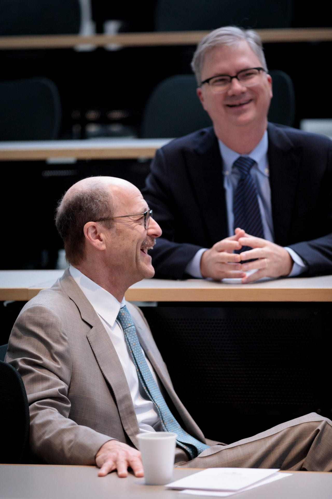 Dean David Perlmutter, foreground, and Provost Holden Thorp