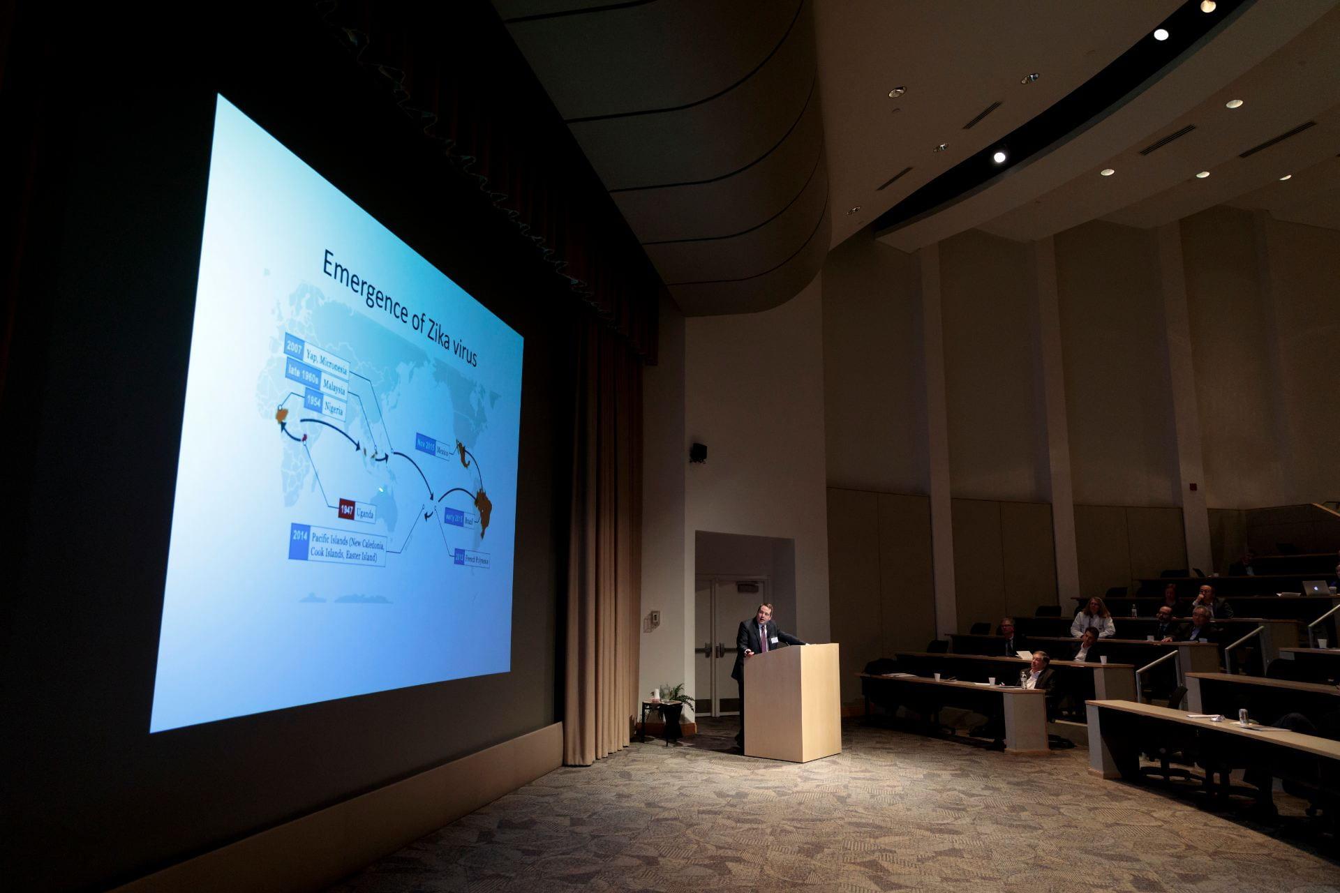 "Jonathan Miner, MD, PhD gives his talk ""From Autoimmunity to Zika: Understanding Links between Cell-Intrinsic Innate Immunity, Viruses and Autoimmunity"""