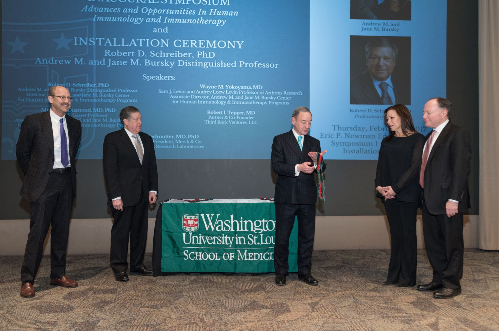 Dean Perlmutter, Bob Schreiber, Chancellor Wrighton, Jane Bursky, and Andy Bursky