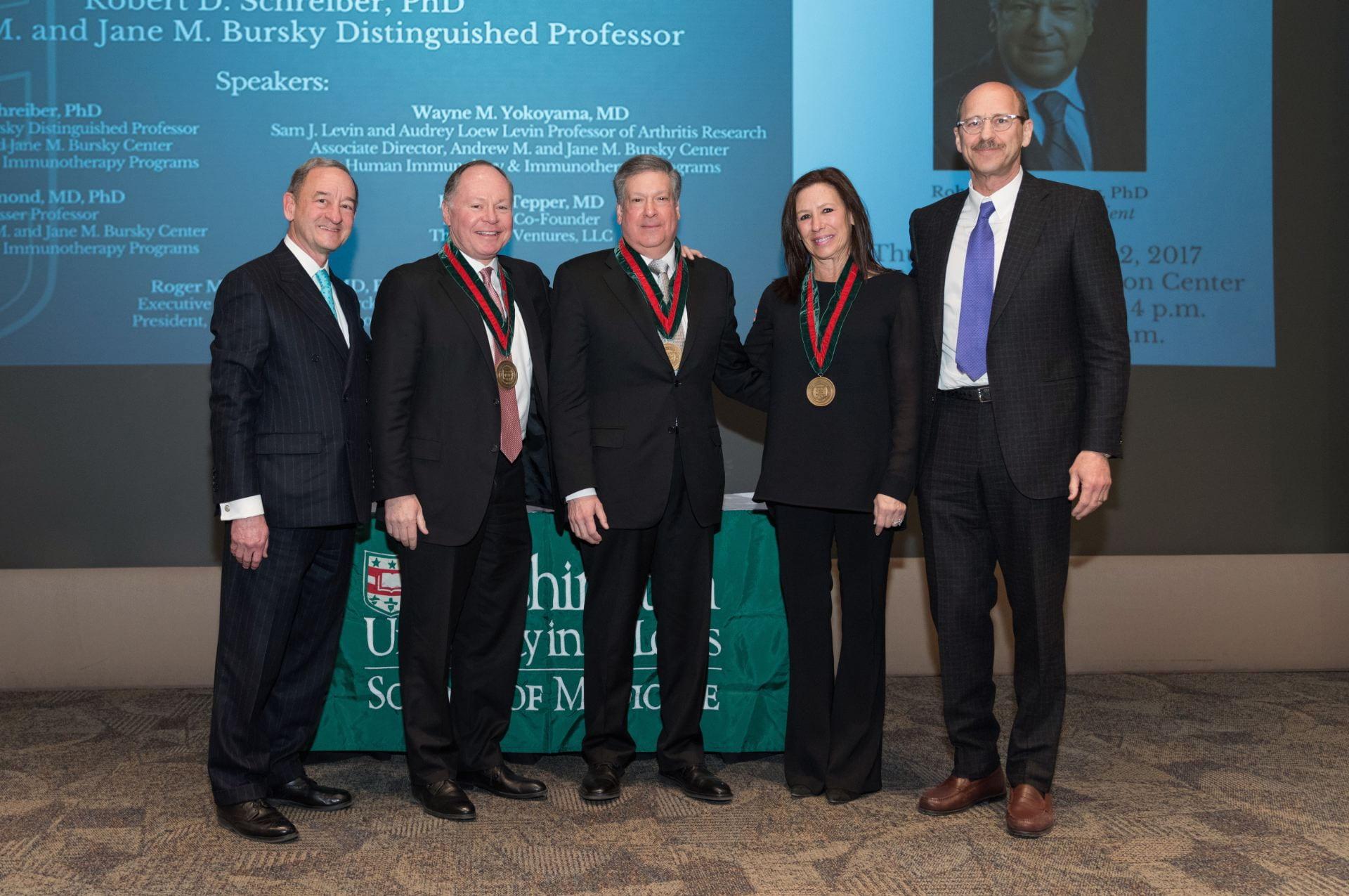 Chancellor Wrighton, Andy Bursky, Bob Schreiber, Jane Bursky, Dean Perlmutter
