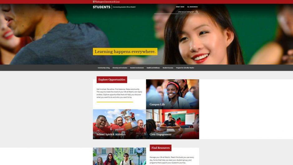 screenshot of Student Experience website