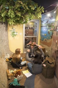 Students from Frontier Middle School gather on the Investigation Station to learn about the water cycle in a new way. (ISP Photo: Barajas)