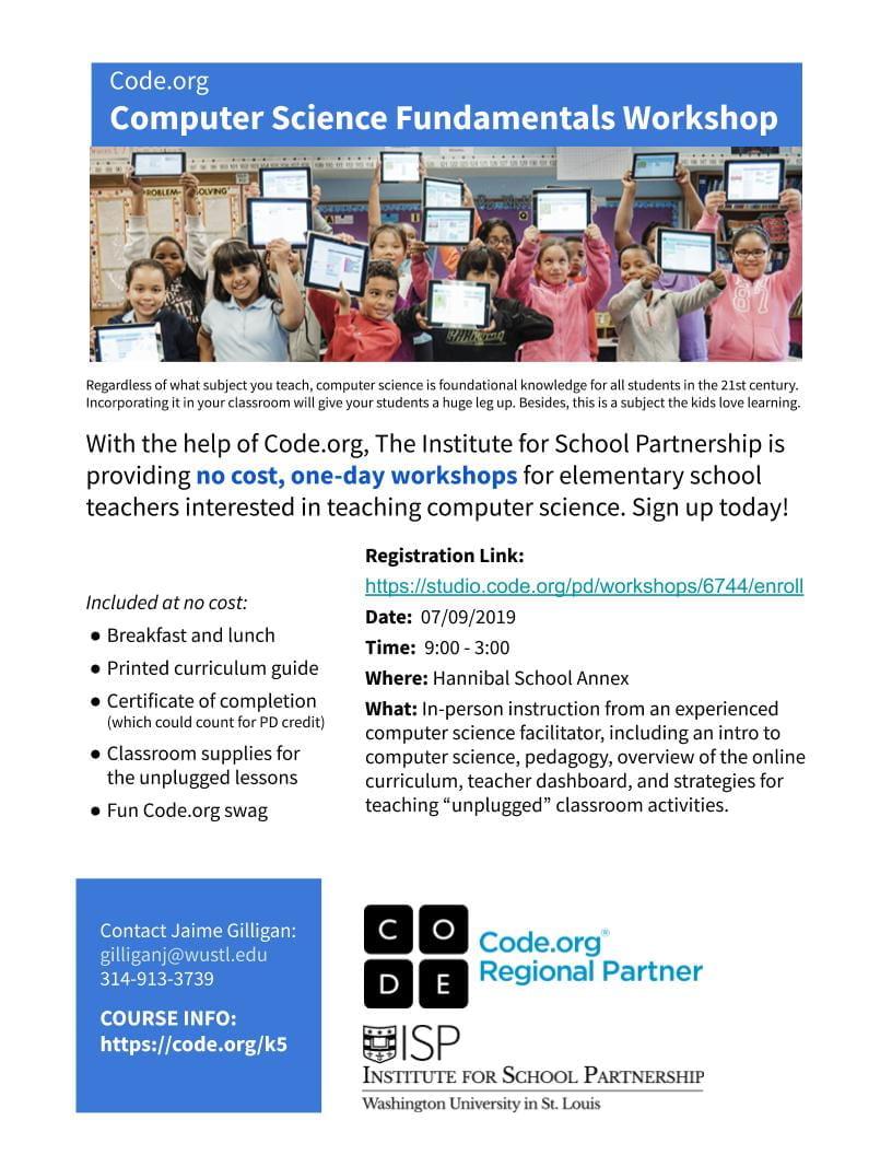 CANCELED) Free Code org Workshop for K-5 Teachers