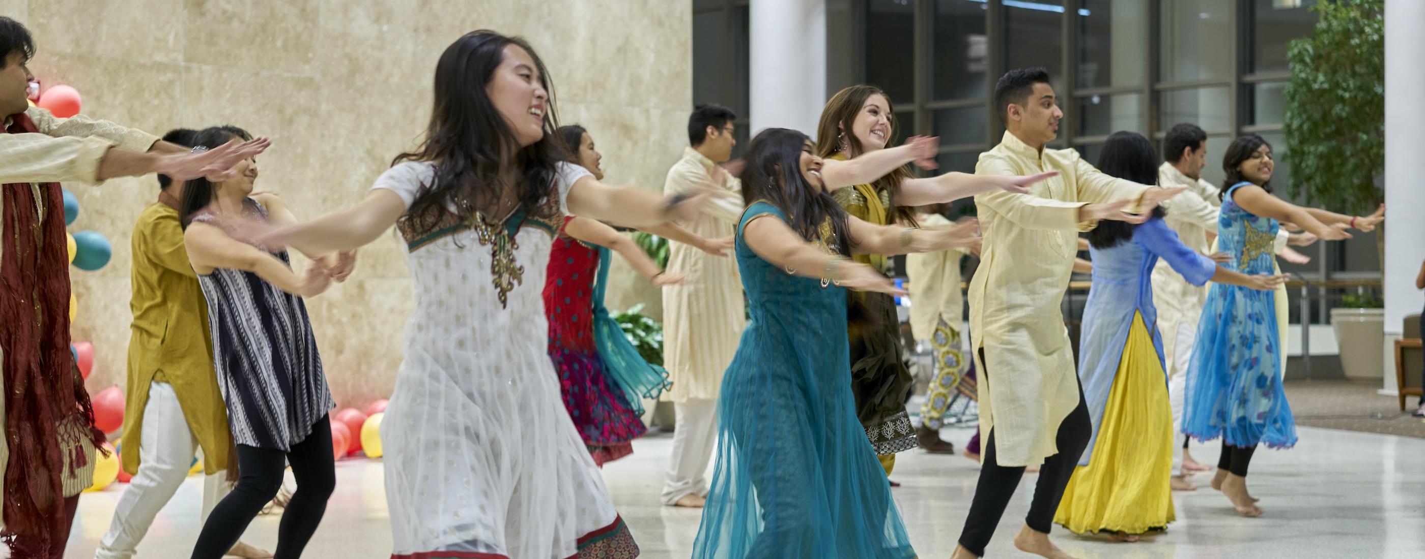 Students Dancing at Diwali